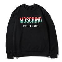 Moschino hot seller of stylish casual couple matching color LOGO circular collar long sleeve hoodies Black