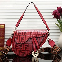 Fendi Women Fashion New More Letter Leather Shopping Shoulder Bag Red