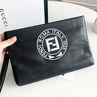 Fendi Fashion new embroidery letter eye leather cosmetic bag file package handbag Black