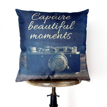 Capture Beautiful Moments   Pillow Cover   Photography   Camera   Home Decor   Photography Gift   Vintage Camera   Vintage Decor   Gift Idea