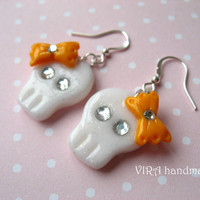 Cute kawaii autumn halloween orange bowknot skull earrings