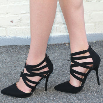 """Spiral"" Strappy Ankle High Heel Pumps - Black"