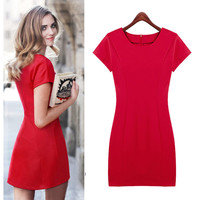 Red Cap Sleeve Casual Mini Dress