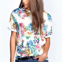 Penny All Over Floral Oversized Tee
