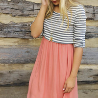 Simple Desires Gray & Coral Contrast Striped Top Dress