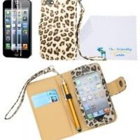 The Friendly Swede PU Leather Folio Wallet Case Cover for iPhone 5 + Matching Stylus + Screen Protector + Cleaning Cloth in Retail Packaging (Leopard)