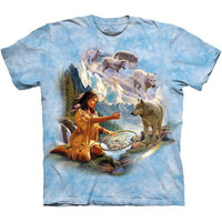 DREAMS OF WOLF SPIRIT The Mountain Native American Indian Wolves T-Shirt S-3XL