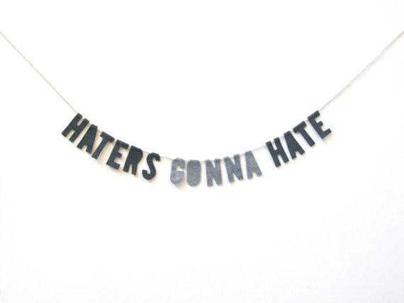 Image of Haters Gonna Hate Felt Party Banner in Marbled Gray