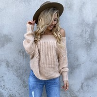 Fall Into You Knit Sweater in Dusty Rose