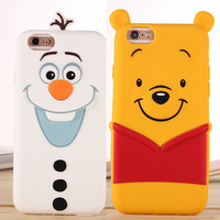New Arrival 3D Cartoon Olaf Winnie Pooh The Toy Capa Para Funda Cover For Iphone 5 5s SE 6 6s 6s plus Soft Shell Case Celular