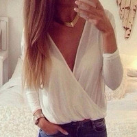 Fashion V-Neck Chiffon Shirt Top Tee Blouse