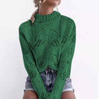 New casual solid color sweater explosion models sexy hollow high collar sweater women