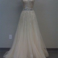 Gorgeous A-line Sweetheart Tulle Prom Dresses with Sequins