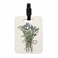 """Pom Graphic Design """"Herbal Bunch Of Love"""" Lavender Green Illustration Decorative Luggage Tag"""