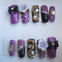 Japanese style Gold Purple & Black chains studded by KawaiiClaws