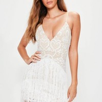 Missguided - White Embroidered Fringe Detail Bodycon Dress