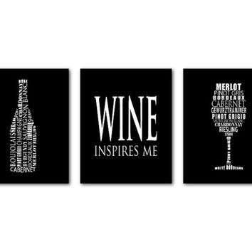 Wine Inspires Me Wall Art Trio - Wine Typography - Word Art - Room Decor - Kitchen Wall Art - Wine Wall Art - wine lovers art - wine glass