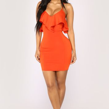 Forever Dancing Ruffle Dress - Red