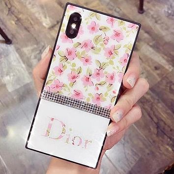 DIOR LV Flower Series Popular Glass Shining Diamond iPhone Phone Cover Case For iphone 7 7plus 8 8plus X XR XS MAX 11 Pro Max 12 Mini 12 Pro Max