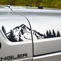 Jeep Wrangler TJ Extended Hood with Mountain and Trees Decal Full Set