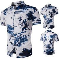 Casual Summer Vintage Linen Printing Stand Collar Dress Shirts for Men
