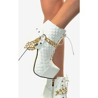 Fashionable ladies high-heeled embroidery thread chain decoration comfortable nude boots