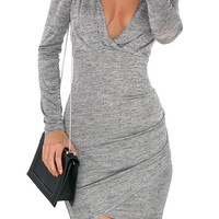 Gray V Backless Bodycon Dress