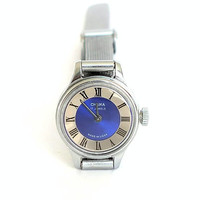 Small Womens Watch. Blue Ladies Mechanical Watch CHAIKA 17 Jewels. Silver Tone Wrist Watch For Women. Tiny Womens Cocktail Watch.