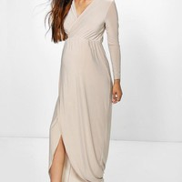 Maternity Lucy Wrap Front Maxi Dress | Boohoo
