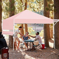 17 Feet x 10 Feet Foldable Pop Up Canopy with Adjustable Instant Sun Shelter-Pink - Color: Pink