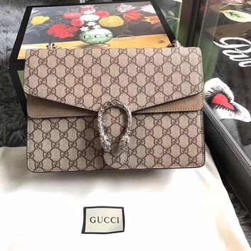 Gucci Women Print Shopping Leather Metal Chain Crossbody Shoulder Bag