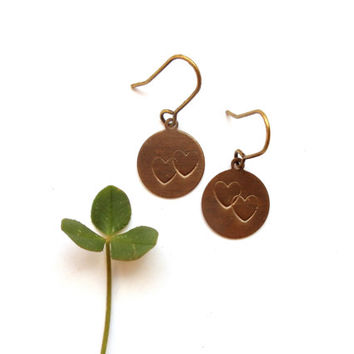 tiny hand stamped earrings // rustic heart jewelry