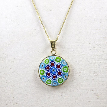 Italian Murano Glass Necklace. Vintage Millefiori Venetian Italian Glass Pendant. A Thousand Flowers Jewelry.
