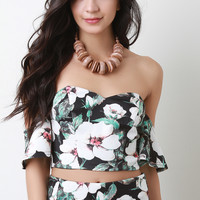 Tropical Flowers Sweetheart Bardot Crop Top