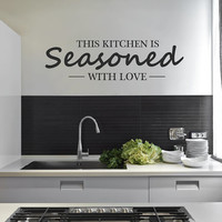 Kitchen Wall Stickers This Kitchen Is Seasoned With Love Wall Sticker Cooking Decal decor wall vinyl