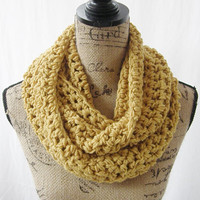 Ready To Ship Erin Mustard Yellow Gold Infinity Crochet Scarf Cowl Loop Circle Accessory