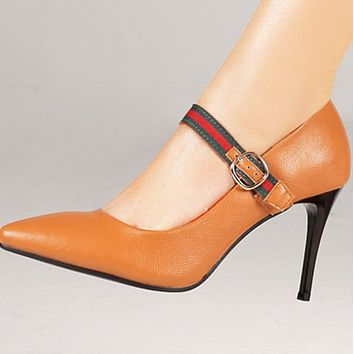 Hot style single-word buckle, pointed, shallow stiletto shoes for women