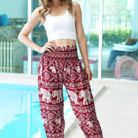 Red Elephant Print Thai Pants, Rayon Pants, Boho Strenchy Pants, Elastic Waist Clothing Beach Women Baggy Casual Gift Tank