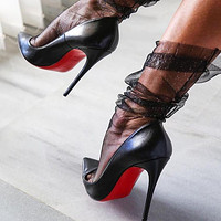 ( S C ) Christian Louboutin 2021 New black pointed high heels