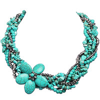 Small Stone Statement Necklace with Hand Knitting Floral Stylish Flower Jewelry