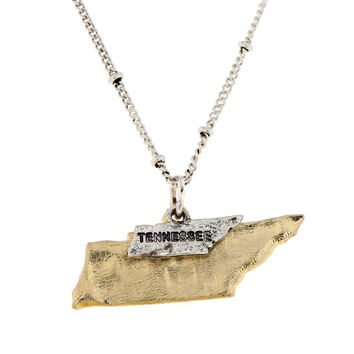 Tennessee State Theme Two Tone Map Charm Necklace