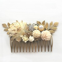 Vienne - Ivory Gold Wedding Hair Comb