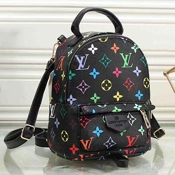 Louis Vuitton LV Trending Woman Stylish Leather Travel Bookbag Shoulder Bag Backpack Black I/A