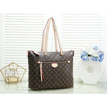 LV Louis Vuitton Fashion Women Shopping Leather Handbag Satchel Shoulder Bag Coffee LV Print
