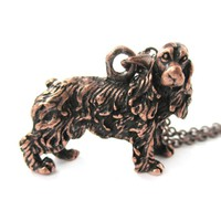 Realistic English Cocker Spaniel Shaped Animal Pendant Necklace in Copper | Jewelry for Dog Lovers