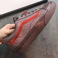 VANS:A new tie all-match low single sequined shoes casual shoes