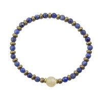 """Sodalite and Yellow Quartz Fine Faceted """"Peace and Joy"""" Bracelet"""