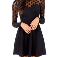Black Polka Lace Long Sleeve Sheath A-Line Pleated Cutout Mini Dress