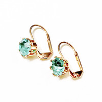 5MM Crystal Stone Lever Back 18Kts Gold Plated Earrings