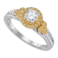 Diamond Bridal Ring with 0.40ct Center Round Stone in 14k White Gold 0.78 ctw